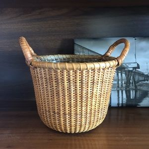 Vintage Rattan Woven Planter Basket with Handles